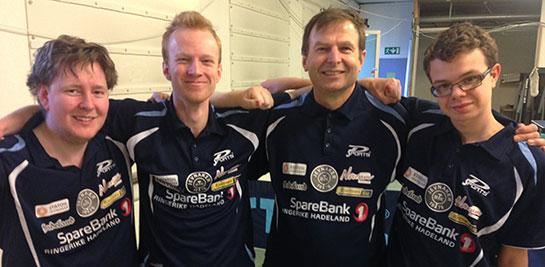 VINNERLAGET: Lars, Benjamin, Hans og Fredrik sikret to nye JBTK-poeng i 3. divisjon.
