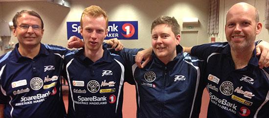 FIRERBANDEN: Hans Gaarder (fra venstre), Benjamin Overaa, Lars Torp og Bendik Alme er stammen i JBTKs 3. divisjonslag.