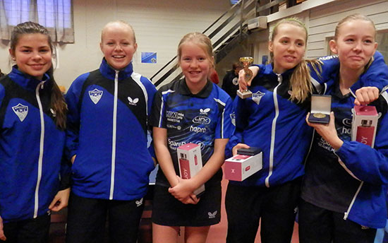JENTER 15/DAMER ÅPEN: xxx (fra venstre), Emma G. Rolfsnes, Dina S. MArring, Julie G. Ruud og Lisa M- Lange.