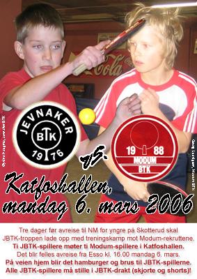 Øyvind Haugmo og Georg Ludvigsen prydet invitasjonen til treningskampsamlingen for Modum og JBTK i 2006. Ni år senere samles yngre spillere fra begge klubbene samme sted.