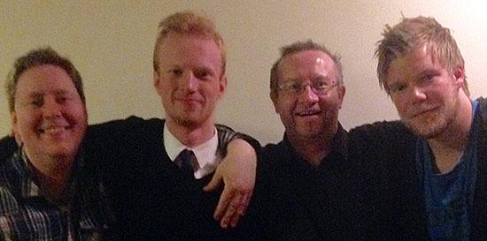JBTK-TROPPEN: Lars Torp, Benjamin Overaa, Thomas Møller og Halvard Grina samlet på hotellet lørdag kveld.