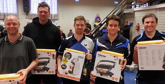TOPP 5: Tore Kristoffersen (f. v.), Kristian Roksvaag, Casper Søndberg, Magnus Vikstrøm & Terje Herting.