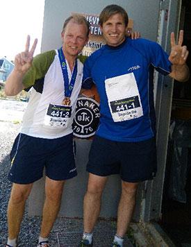 DRØY DUO: Olof og Terje løp til sammen et helt maraton i dag. Sterkt!