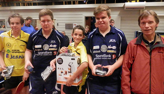 TOPP 5: Ludvig Olsen (f.v.), Lars Torp, Aslak Vengbo, Thomas Moen og Bjørn E. Wibe.