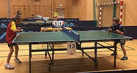 STO PÅ: Martin Jensen er fortsatt fersk som bordtennisspiller. I dag sto han på og vant mange poeng!