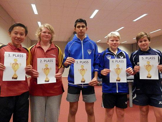 TOPP 5: Dagens beste, med bilde av pokalene de må vente på. Fra venstre: Martin Steen, Trym Lurås, Ramin Haghyar, Jesper J. Grua og Jonas Jensen.