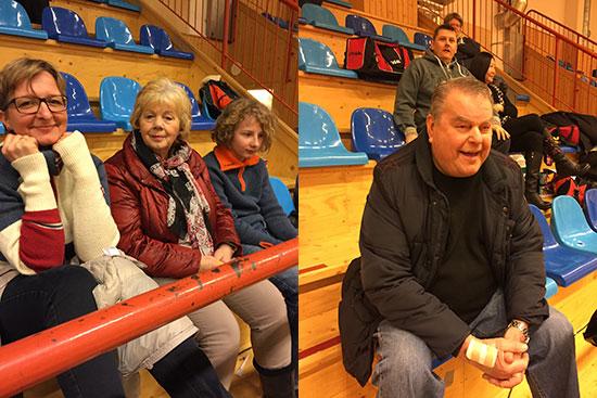 JBTK-SUPPORTERE: May (fra venstre), Laila og Christian Wilkens, samt Bert Erixon (t.h.), heiet fra tribuneplass.
