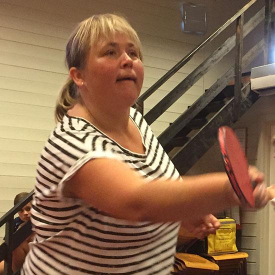 LENE JENSEN: Klubbens meget aktive styremedlem la inn en solid treningsinnsats etter at hun hadde hentet treneren på Lunner stasjon.