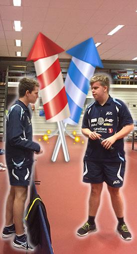 OPPTUR: Daniel (t.v.) og Thomas imponerte i desember. Her får Thomas råd fra Daniel på veien mot KM-gullet i Herrer C.
