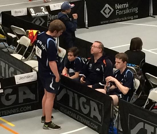 PÅ LAG: Thomas, Jonas, Thomas og Daniel i aksjon i Høyenhallen i Oslo. (Foto: Pia-Helen Fagerslett)
