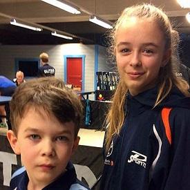 SØSKEN: Erik og Kaja Jensen vant hver sin kamp i dag.