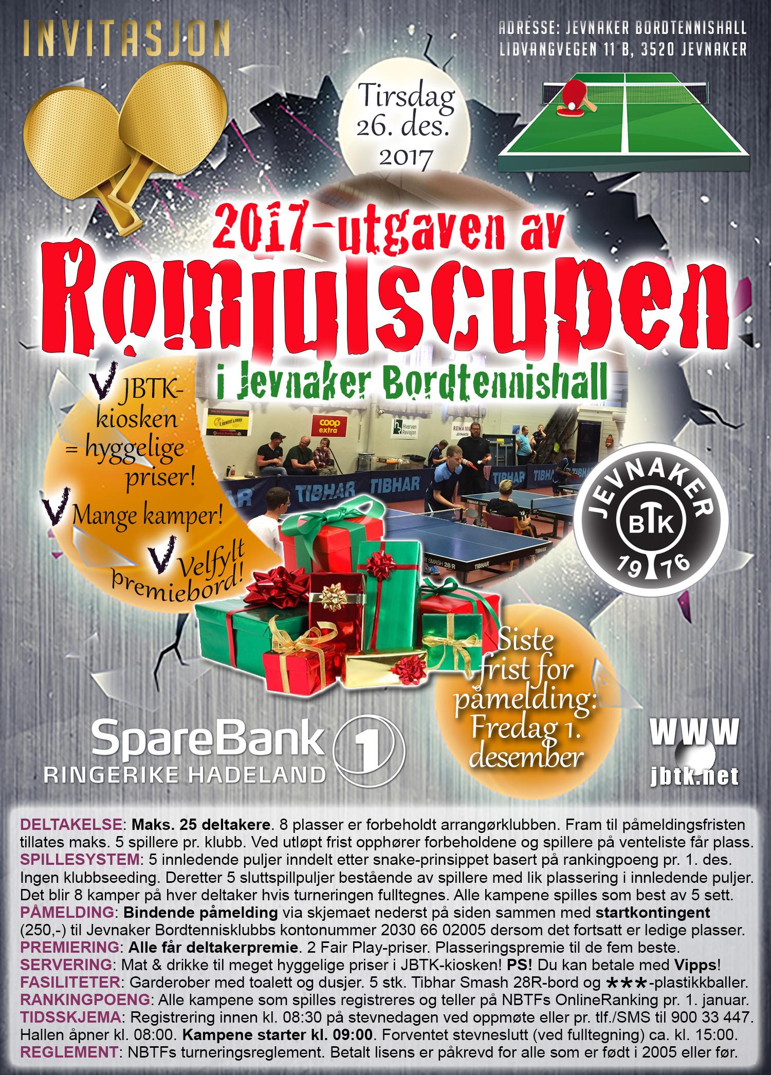 Invitasjon til Romjulscupen 2017 | Jevnaker Bordtennisklubb